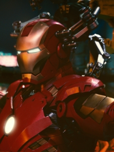 The Iron Man armor in a scene from 'Iron Man 2'