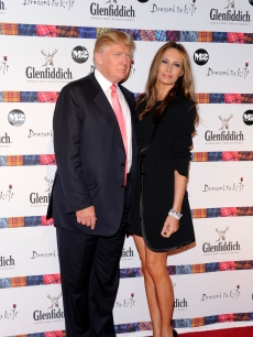 Donald Trump and Melania Trump attend the 8th annual 'Dressed To Kilt' Charity Fashion Show presented by Glenfiddich at M2 Ultra Lounge in New York City on April 5, 2010