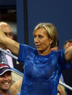 Martina Navratilova gestures before the women's singles finals between Serena Williams of the United States and Jelena Jankovic of Serbia during Day 14 of the 2008 U.S. Open at the USTA Billie Jean King National Tennis Center on September 7, 2008 in the Flushing neighborhood of the Queens borough of New York City