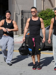 Vinny Guadagnio, Ronnie Ortiz Margo, Mike &#8216;The Situation&#8217; Sorrentino and Pauly DJ Delvecchio are sighted in Miami Beach, Florida on April 7, 2010