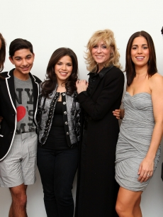 Vanessa Williams, Mark Indelicato, America Ferrera, Judith Light, Ana Ortiz and Daniel Eric Gold attend an 'Ugly Betty' charity auction benefiting Save the Children at Axelle Fine Arts Gallery Ltd., NYC, April 12, 2010