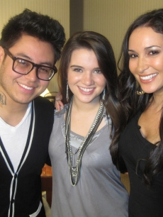 """American Idol's"" Andrew Garcia and Katie Stevens with Accesshollywood.com's Laura Saltman"