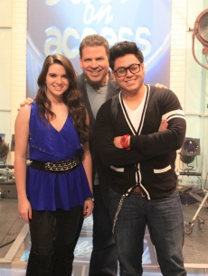 'Idol's' Katie Stevens and Andrew Garcia with Michael Orland on the Access set, April 16, 2010