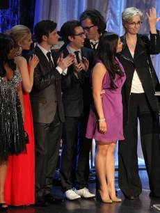 The cast of 'Glee' and show creator Ryan Murphy onstage at the 21st Annual GLAAD Media Awards held at Hyatt Regency Century Plaza in Century City, California on April 17, 2010