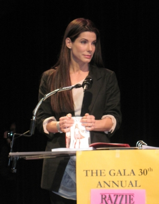 Sandra Bullock addresses the audience at the Razzie Awards on March 6, 2010