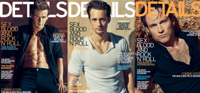 Ryan Kwanten, Alexander Skarsgard and Stephen Moyer on their Details covers, 2010