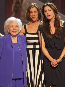 Betty White, Wendie Malick and Jane Leeves speak during the Eighth annual TV Land Awards in Culver City, California on April 17, 2010