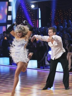 Jake Pavelka and partner Chelsie Hightower do a 'Risky Business'-themed cha cha cha during 'Dancing with the Stars' Season 10, Week 5 on April 19, 2010
