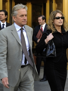 Michael Douglas and his former wife Diandra Luker leave New York Federal Court after their son, Cameron Douglas was sentenced to 5 years for possession of methamphetamines with the intent to distribute, NYC, April 20, 2010