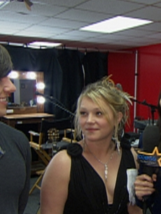 AccessHollywood.com's Laura Saltman with Tim Urban and Crystal Bowersox at 'American Idol'