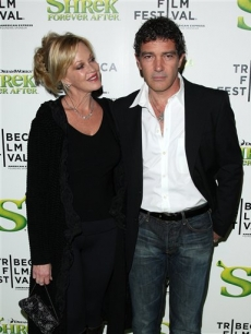 Antonio Banderas and Melanie Griffith attend the premiere of 'Shrek Forever After' during opening night of the 2010 Tribeca Film Festival on April 21, 2010 in New York City