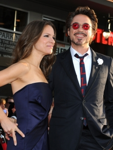 Susan Downey and actor Robert Downey Jr. arrive at the world premiere of Paramount Pictures and Marvel Entertainment's 'Iron Man 2' held at El Capitan Theatre on April 26, 2010 in Hollywood, California.