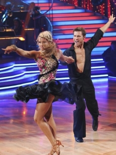 Jake Pavelka wears a big grin on the dance floor during the samba with partner Chelsie Hightower on 'Dancing with the Stars' Season 10, Week 6 on April 26, 2010