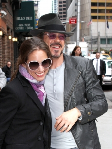 Susan Downey and husband Robert Downey Jr. arrive to 'The Late Show with David Letterman' in NYC on April 29, 2010
