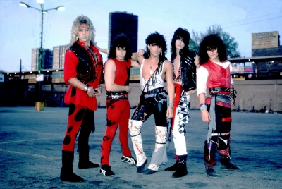 Ratt in their full 80's regalia, strike a pose, Chicago, Jan. 1, 1990