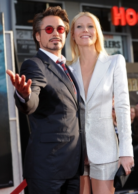 Robert Downey Jr. and Gwyneth Paltrow engage the crowd at the world premiere of Paramount Pictures and Marvel Entertainment's 'Iron Man 2' held at El Capitan Theatre, Los Angeles, April 26, 2010