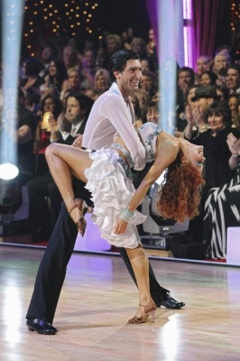 Evan Lysacek dips partner Anna Trebunskaya during the samba on &#8216;Dancing with the Stars&#8217; Season 10, Week 6 on April 26, 2010