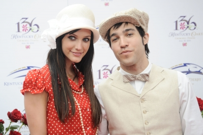 Ashlee Simpson-Wentz and Pete Wentz share a moment at the 136th Kentucky Derby in Louisville, Kentucky, on May 1, 2010