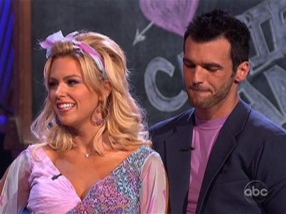 Tony Dovolani bites his lip as he and Kate Gosselin are criticized on 'Dancing with the Stars,' April 19, 2010
