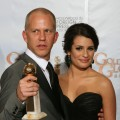 Ryan Murphy poses with Lea Michele and his trophy for Best Television Series-Comedy or Musical for &#8216;Glee&#8217; in the photo room at the 67th Annual Golden Globe Awards at the Beverly Hilton Hotel in Beverly Hills, California, January 17, 2010