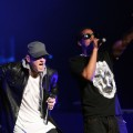 Eminem and Jay-Z and  perform together on-stage at the launch of &#8216;DJ Hero&#8217; at the Wiltern Theatre in Los Angeles, California on June 1, 2009 