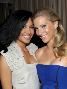 Naya Rivera and Heather Morris attend the celebration of Glee's Golden Globe nominations with InStyle and 20th Century Fox held at Sunset Tower on January 9, 2010 in West Hollywood, California