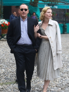 Kevin Spacey and Cate Blanchett share a moment while filming a spot for IWC in Portofino, Italy, on May 8, 2010