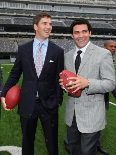 New York Giants quarterback Eli Manning and New York Jets quarterback Mark Sanchez attend the New York Giants and Jets send-off ceremony for the 2014 Super Bowl Bid at New Meadowlands Stadium, East Rutherfood, NJ, May 12, 2010