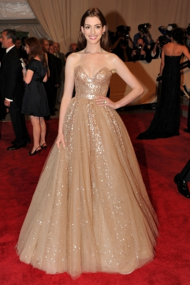 Anne Hathaway attends the Costume Institute Gala Benefit to celebrate the opening of the 'American Woman: Fashioning a National Identity' exhibition at The Metropolitan Museum of Art, NYC, May 3, 2010