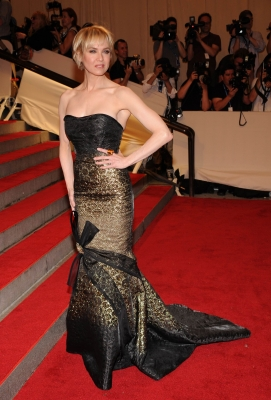 Renee Zellweger strikes a pose in a mermaid styled gown at the Costume Institute Gala at the Metropolitan Museum of Art in New York on May 3, 2010