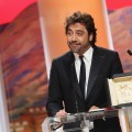 Javier Bardem accepts his award for Best Actor at the Palme d'Or ceremony at the 63rd Cannes Film Festival in Cannes, France, on May 23, 2010