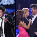 Lee DeWyze reacts after being crowned the Season 9 &#8216;American Idol,&#8217; Paula Abdul and Simon Cowell on stage, May 26, 2010