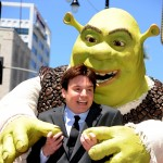 Mike Myers poses with Shrek, who was honored on The Hollywood Walk Of Fame, in Hollywood on May 20, 2010