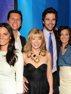 The cast of 'Perfect Couples' — Olivia Munn, Hayes MacArthur, Mary Elizabeth Ellis, David Walton and Christine Woods attend the 2010 NBC Upfront presentation at The Hilton Hotel, NYC, May 17, 2010