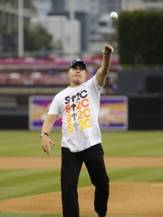 Ray Liotta throws out the first pitch on the San Diego Padres field as an ambassador for Stand Up To Cancer as the team announces a partnership with SU2C, May 14, 2010