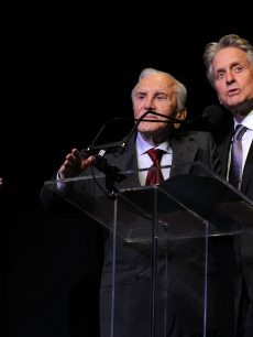 Kirk Douglas presents his son, Michael Douglas, with an award at The Film Society of Lincoln Center's 37th Annual Chaplin Award gala at Alice Tully Hall on May 24, 2010 in New York City