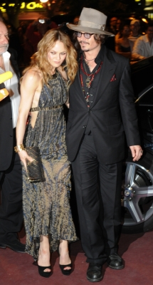 Vanessa Paradis and Johnny Depp attend the Figaro Madame/Chanel dinner during the 63rd Cannes Film Festival on May 18, 2010