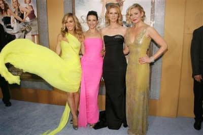 The cast of 'Sex and the City 2,' Sarah Jessica Parker, Kristin Davis, Cynthia Nixon and Kim Cattrall, pose for a photo at the premiere at Radio City Music Hall in New York City on May 24, 2010