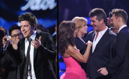 Lee DeWyze reacts after being crowned the Season 9 'American Idol,' Paula Abdul and Simon Cowell on stage, May 26, 2010