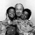 Todd Bridges and Gary Coleman flank Conrad Bain as they pose for a publicity photo for 'Diff'rent Strokes' in 1978