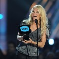 Carrie Underwood accepts the award for Video of the Year at the 2010 CMT Music Awards at the Bridgestone Arena in Nashville, Tennessee on June 9, 2010