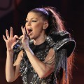 Fergie of Black Eyed Peas perform a song during the kick-off celebration concert for the 2010 FIFA World Cup at the Orlando Stadium in Soweto, South Africa on June 10, 2010
