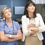 Edie Falco as Jackie Peyton and Eve Best as Dr. O'Hara in 'Nurse Jackie'
