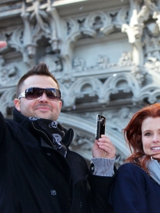 Nick Swisher and Joanna Garcia at the New York Yankees World Series victory parade in NYC on November 6, 2009