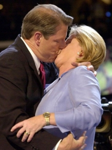 Then-Vice President Al Gore kisses his wife Tipper as he steps onto the stage at the Democratic National Convention in Los Angeles on Aug. 17, 2000