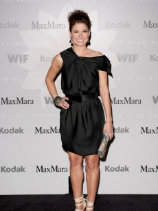 Debra Messing arrives at the 2010 Crystal + Lucy Awards: A New Era at Hyatt Regency Century Plaza, Los Angeles, June 1, 2010
