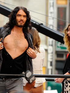 Russell Brand bares all to a stunned Rose Byrne and to an excited crowd on NBC's 'Today' show at Rockefeller Center in New York City on June 3, 2010