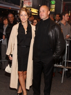Edie Falco and Paul Schulze attend the Broadway opening night of 'Oleanna' at the John Golden Theatre, NYC, October 11, 2009