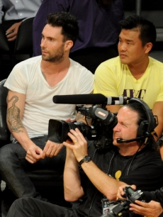 Adam Levine of Maroon 5 attends Game 1 of the NBA Finals between the Los Angeles Lakers and the Boston Celtics at the Staples Center in Los Angeles on June 3, 2010