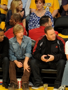 Chris Rock, David Spade, Kevin James and Adam Sandler cheer on the Lakers during Game 1 of the NBA Finals between the Los Angeles Lakers and the Boston Celtics at the Staples Center in Los Angeles on June 3, 2010